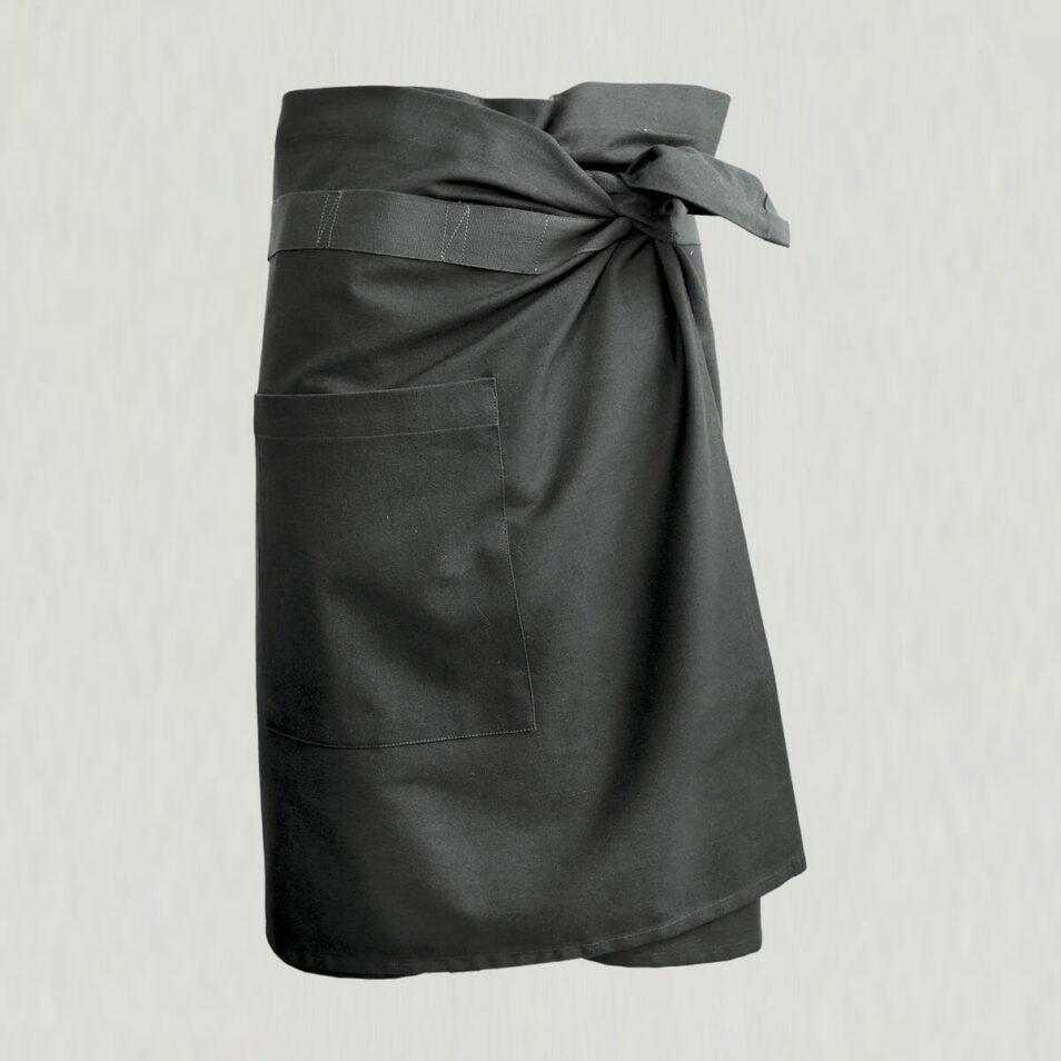 Forklæde med lomme i sort