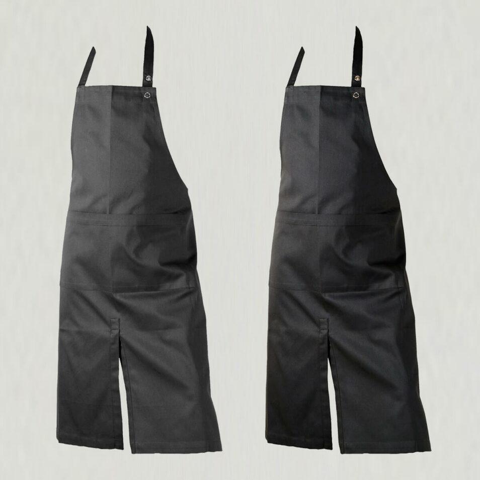 forklæde med lomme og smæk i sort