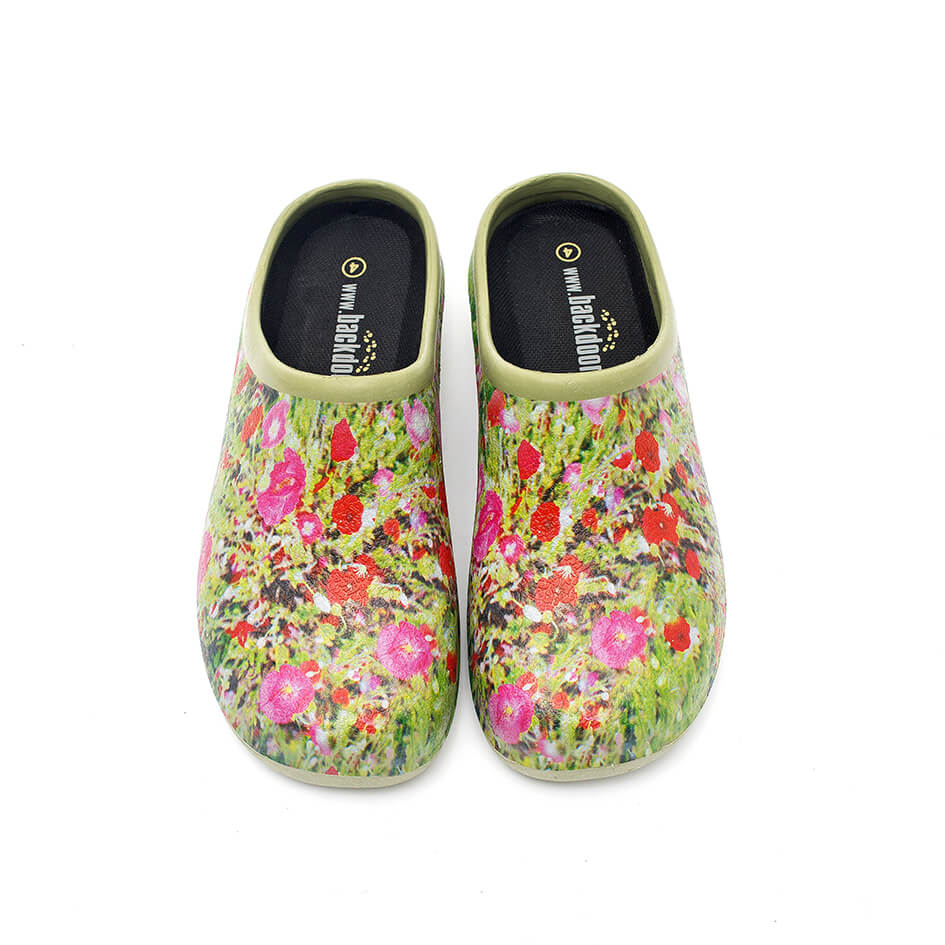 Havesko, Backdoorshoes, med smukt motiv af en valmue-mark