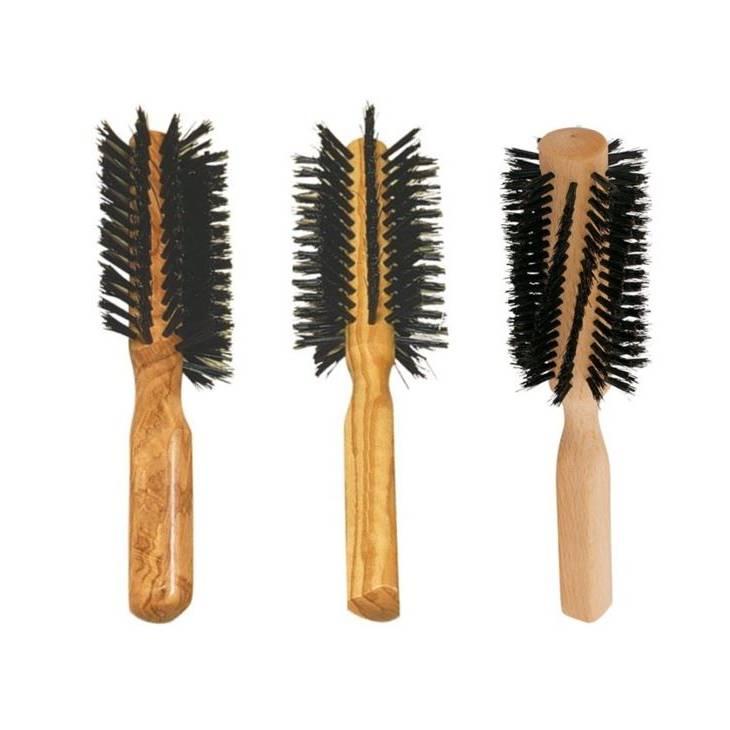 Rund hårbørste med vildsvinehår