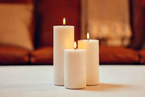 Hvide LED Bloklys Ø10 cm, Deluxe Homeart