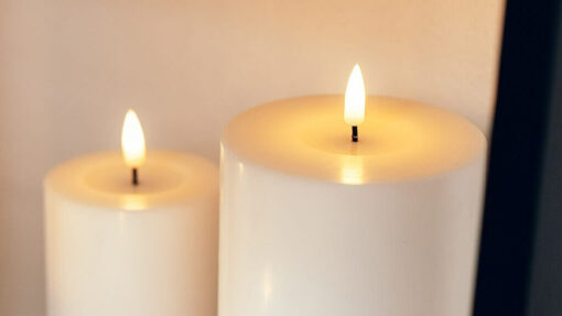 Hvide LED Bloklys Ø10 cm, Deluxe Homeart..