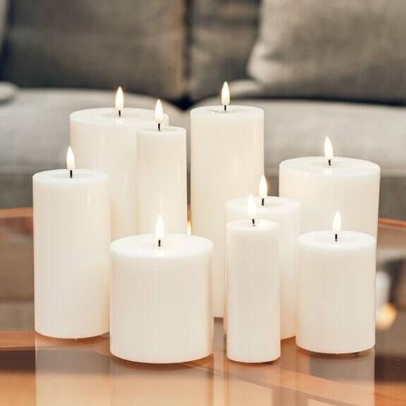 Hvide LED Bloklys Ø7,5 cm, Deluxe Homeart...
