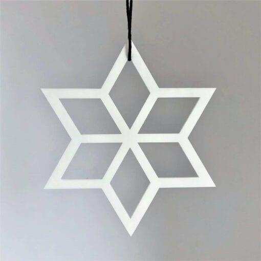 Julepynt - Geometrisk Stjerne Hvid, Ryborg Urban Designs