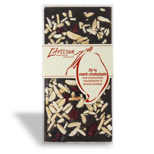 L'Artisan chokoladeplade 100g - 70% Mørk chokolade (Med sukkerristede mandelsplitter & tørrede tranebær)