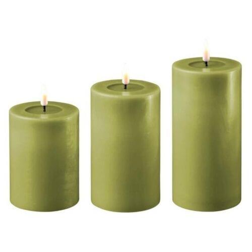 Olivengrøn LED Bloklys Ø7,5cm - Deluxe Homeart