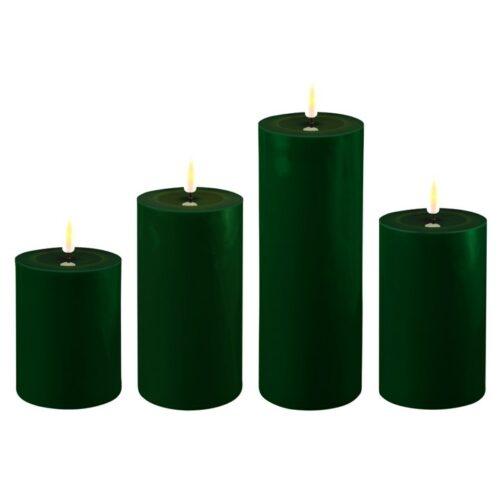 Mørkegrønne LED Bloklys Ø7,5cm, 4 størrelser - Deluxe Homeart