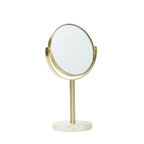 Hübsch Bordspejl messing & terrazzofod Ø18cm